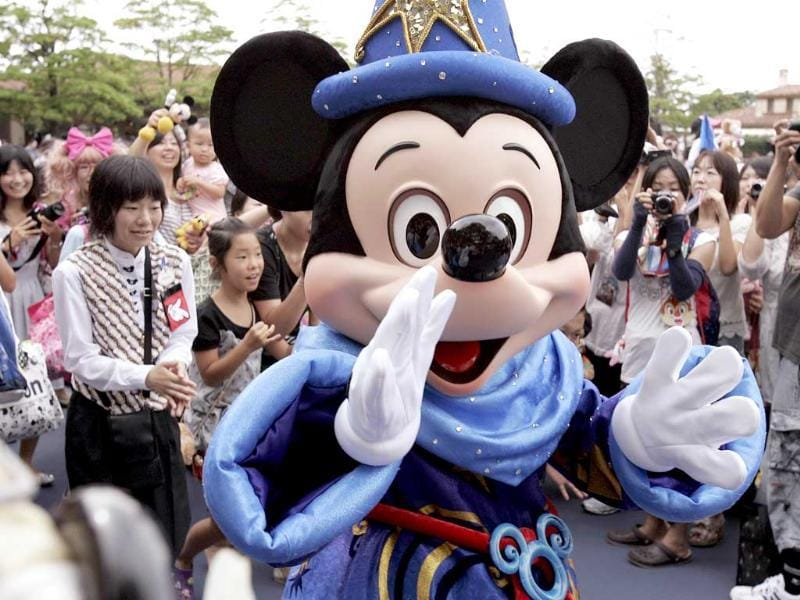 Mickey Mouse greets guests to celebrate the 10th anniversary of Tokyo DisneySea at Urayasu city, suburban Tokyo. Tokyo DisneySea will celebrate the entertainment program