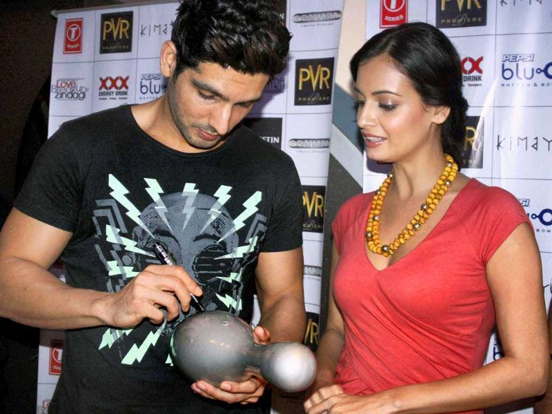 Dia Mirza and Zayed Khan during a promotional event for their film Love Breakups Zindagi in Gurgaon.