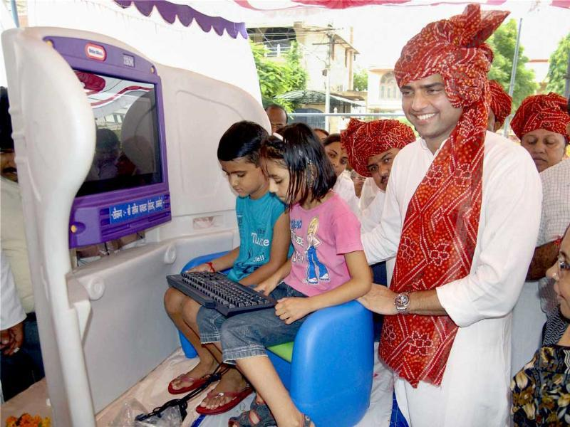 Minister of state for communications and IT Sachin Pilot during the Launch of KidSmart computer scheme in Ajmer