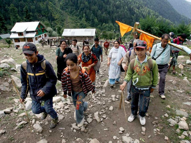 A group of Kashmiri Pandits leave for Gangabal Lake, located in 14350 feet high Harmukh range in Ganderbal district of J & K. Devotees will perform Mahayagya at the lake tomorrow.
