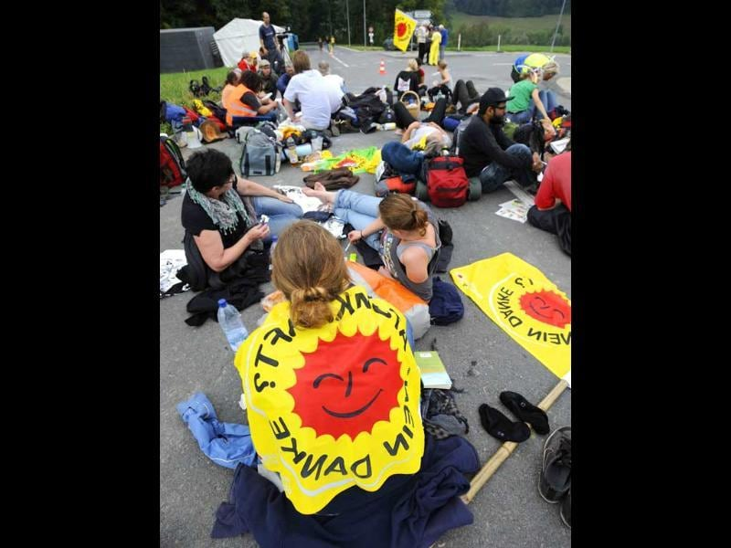 Anti-nuclear protestors gather near the nuclear power plant Muehleberg during a demonstration against nuclear power near Bern.