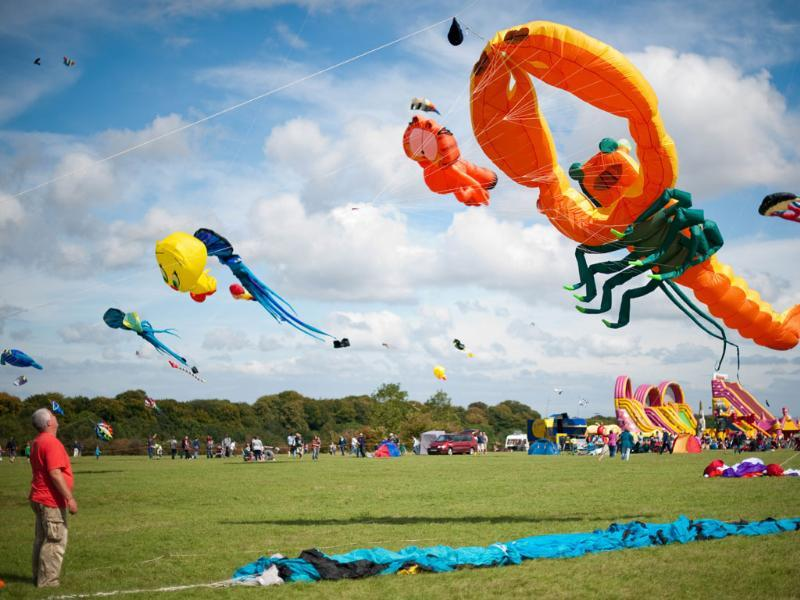 A man looks up at a giant lobster kite at the 25th annual Bristol International Kite Festival on the Ashton Court Estate near Bristol.