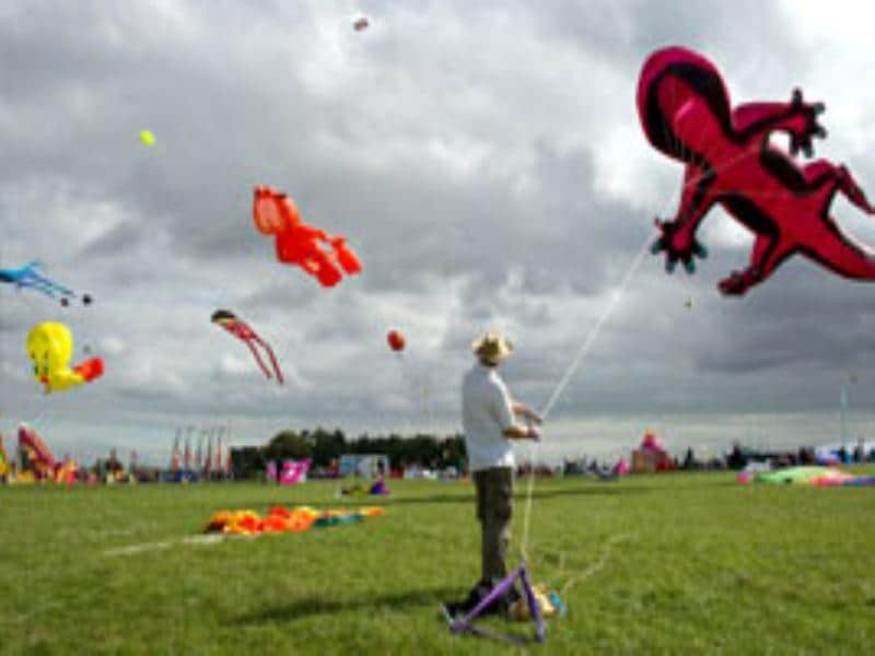 A man holds the anchoring line to a giant gecko kite at the 25th annual Bristol International Kite Festival on the Ashton Court Estate near Bristol.