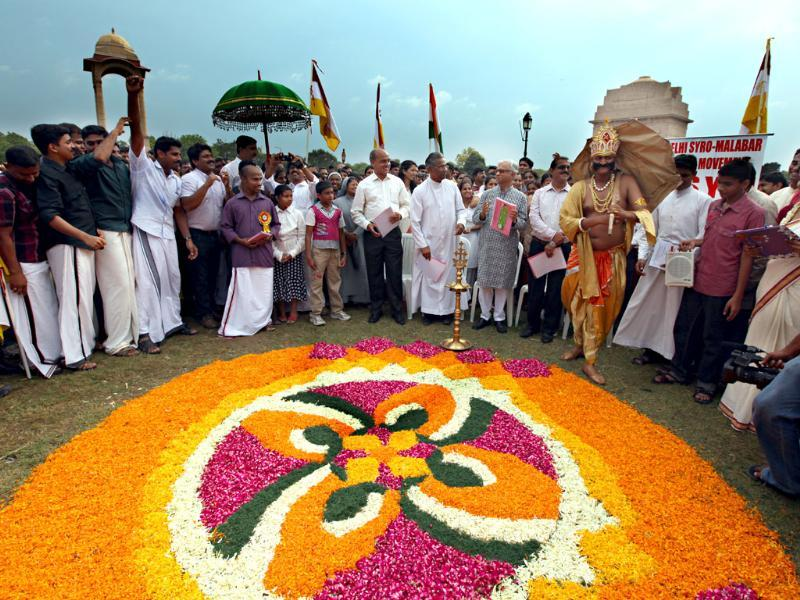 People from Kerala celebrate Onam festival at India Gate in New Delhi.