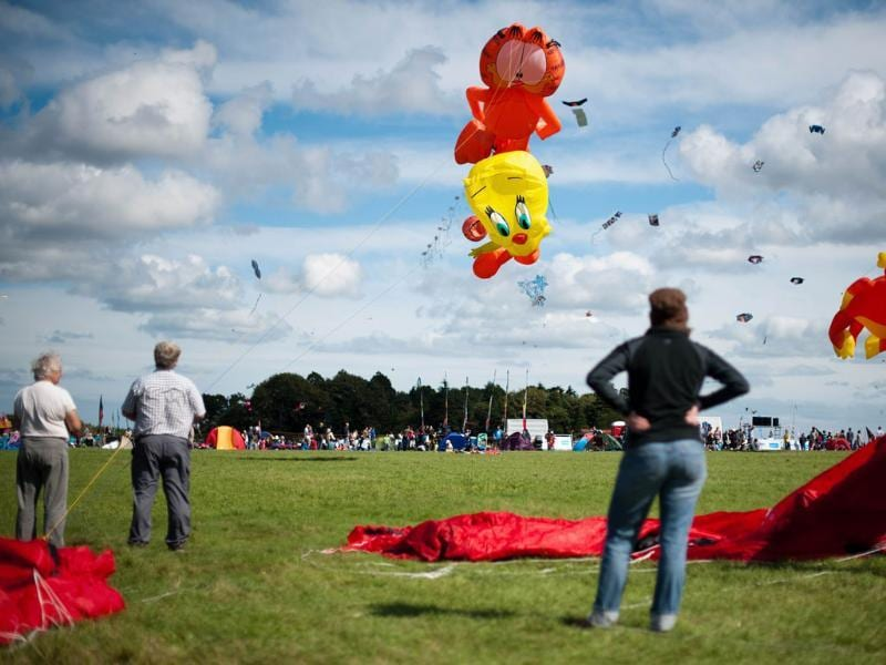 Kites shaped like cartoon characters Tweety and Garfield fly at the 25th annual Bristol International Kite Festival on the Ashton Court Estate near Bristol.