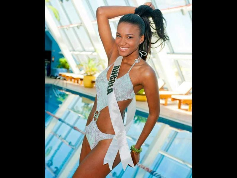 Miss Angola 2011 Leila Lopes posing in her Catalina Brasil swimwear at the Hilton Sao Paulo Morumbi pool. AFP PHOTO/Darren DECKER/Miss Universe Organization/HO