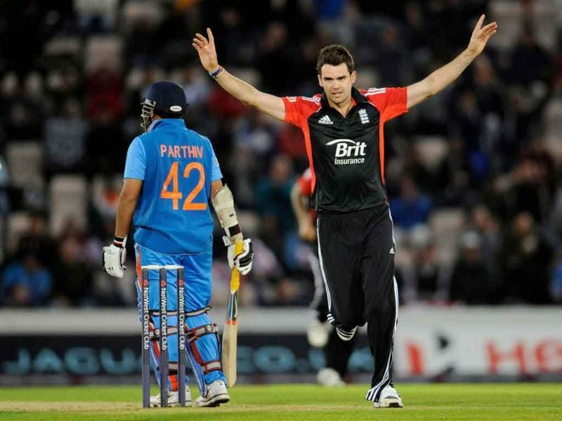 England's James Anderson celebrates after dismissing India's Parthiv Patel during the second One Day International cricket match at the Rose Bowl cricket ground in Southampton, England.