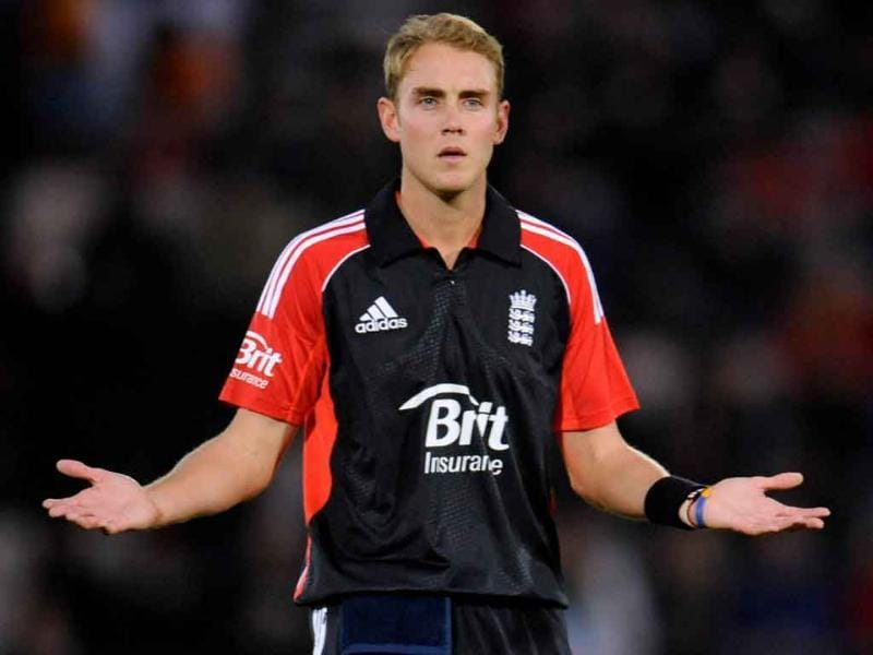 England's Stuart Broad signals during their second One Day International cricket match against India at the Rose Bowl cricket ground in Southampton.