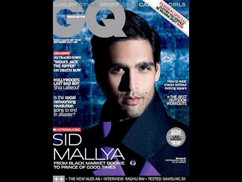 GQ India has 'black market bookie to Prince-Of-Good-Times' Siddarth Mallya for a coverboy.