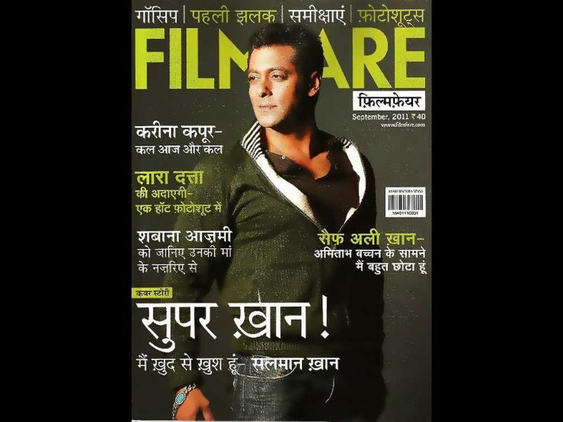 Hindi Filmfare features a weary-looking Salman Khan, as 'Super Khan!'.