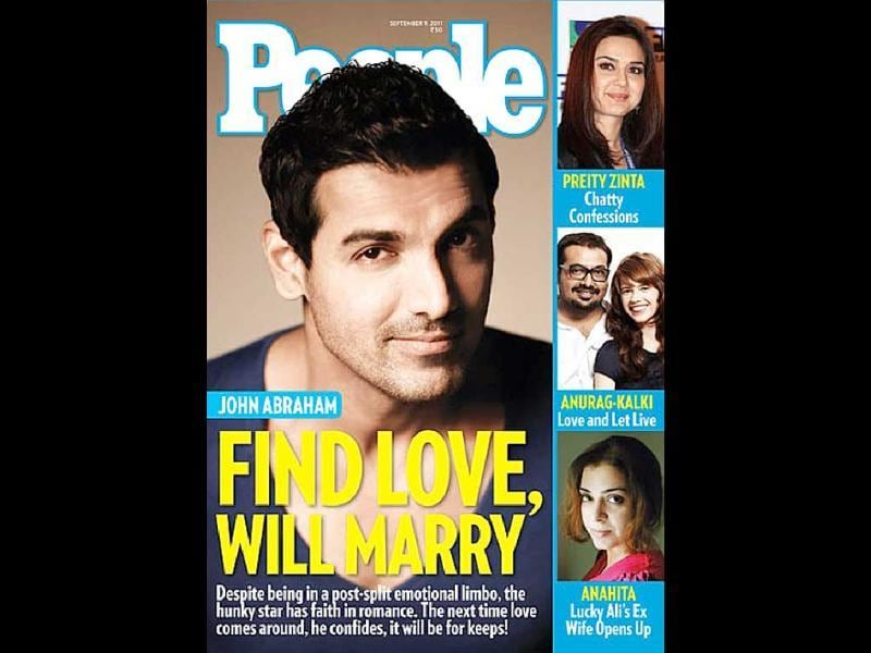 People features a 'lovesick' John Abraham, looking dapper.
