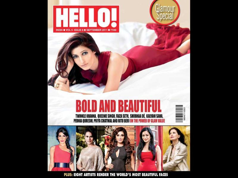 Actor Akshay Kumar's wifey Twinkle Khanna returns to the glamour world on the cover of Hello!.