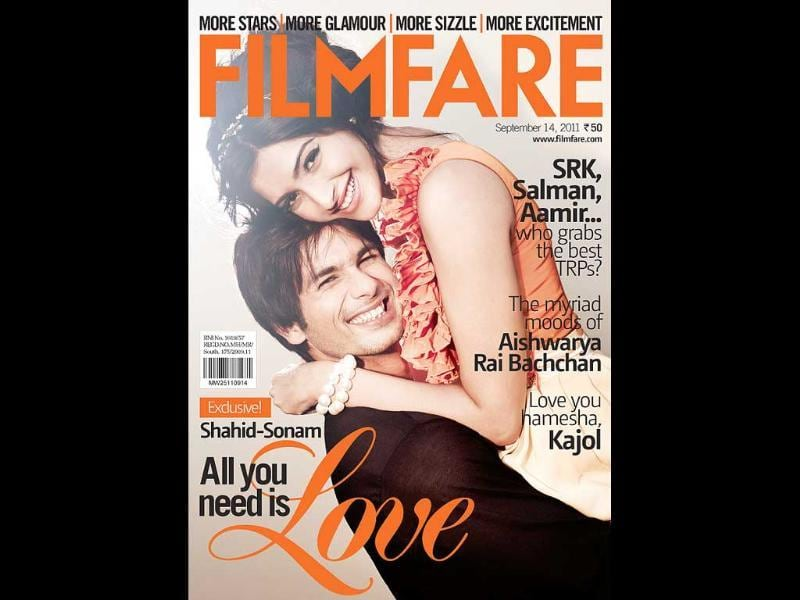 Shahid Kapoor and Sonam Kapoor make a cute pair on Filmfare cover.