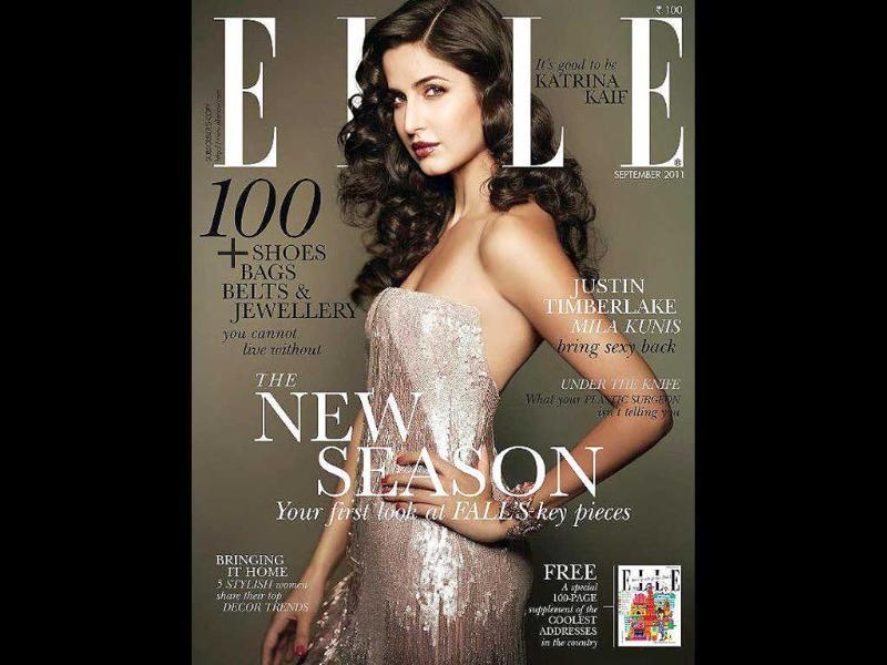 A vintage looking Katrina Kaif looks classic on the Elle cover.