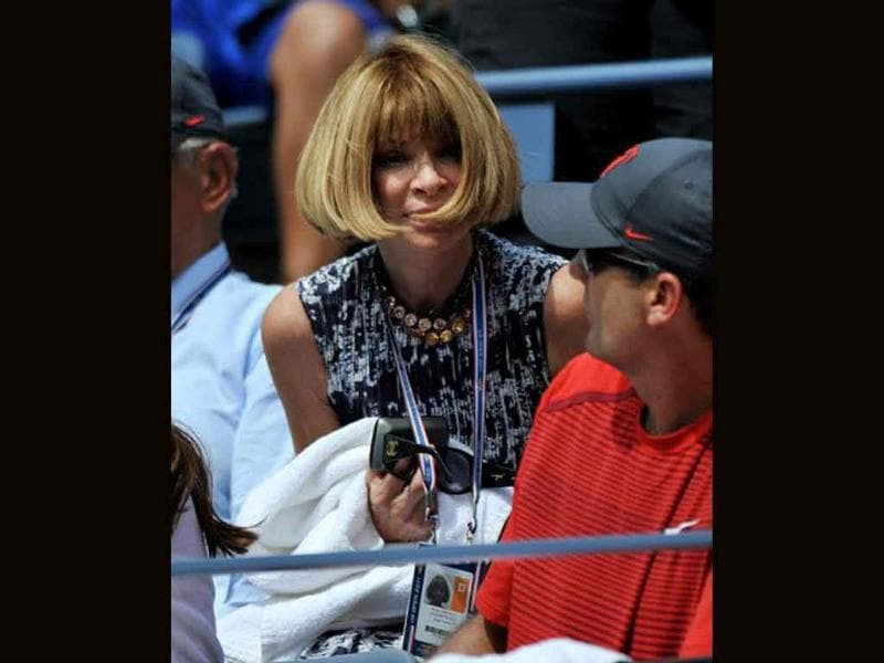 Anna Wintour, editor of US Vogue magazine, sits in the players' box of Roger Federer of Switzerland during his Men's single match against Dudi Sela of Israel at the US Open tennis tournament.