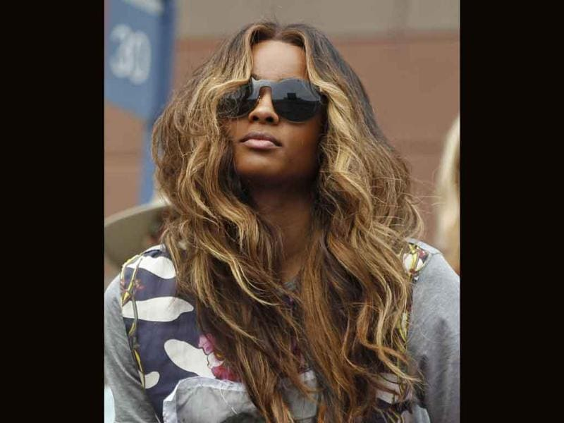 Music artist Ciara arrives to watch Serena Williams play Ana Ivanovic of Serbia during the US Open tennis tournament in New York.
