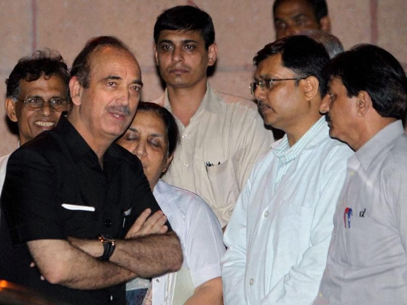 Health minister Ghulam Nabi Azad after visiting the injured persons of high court blast, at RML hospital in New Delhi.