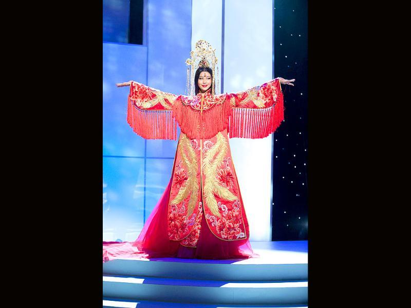 Miss China's fancy oriental get-up.