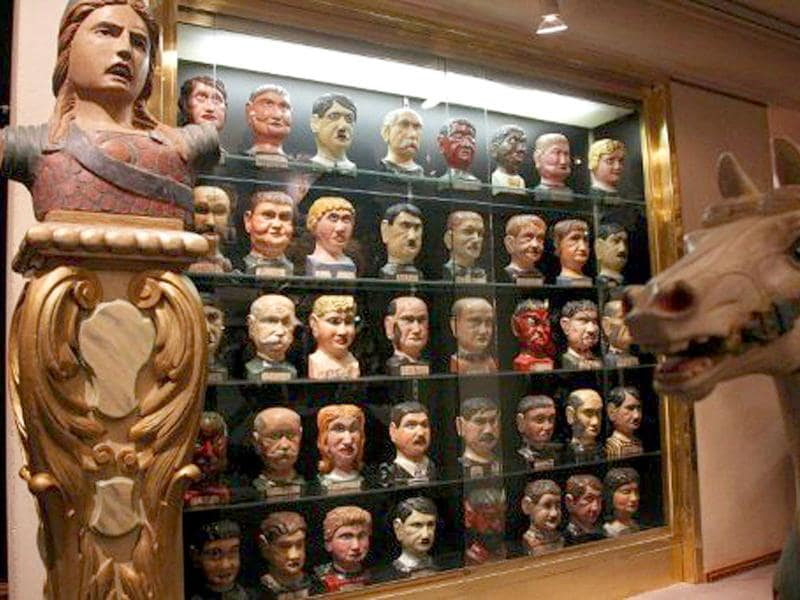 A picture taken at Cornette Saint-Cyr auction house in Paris, shows a wooden political slaughter game,