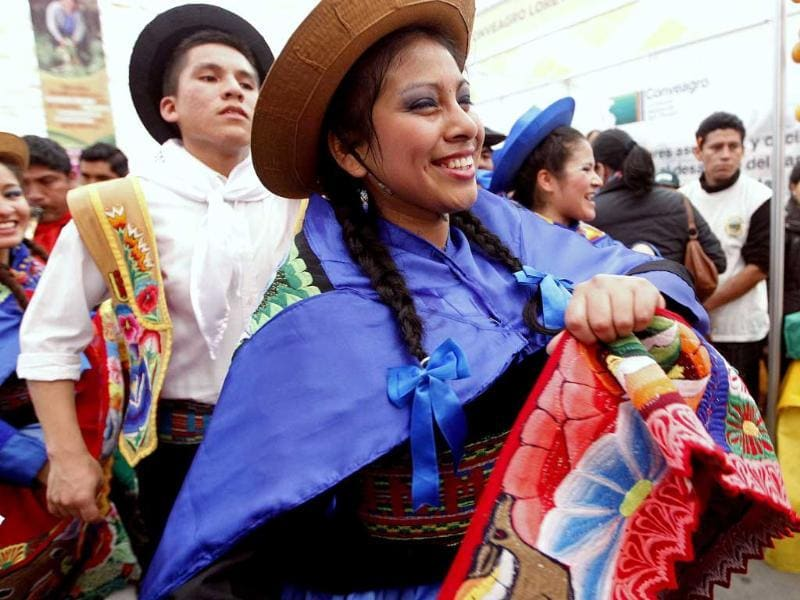 Dancers perform during the gastronomic fair 'Mistura' in Lima.