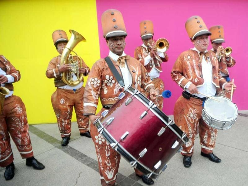 A band performs during the inauguration of the gastronomic fair 'Mistura' in Lima.