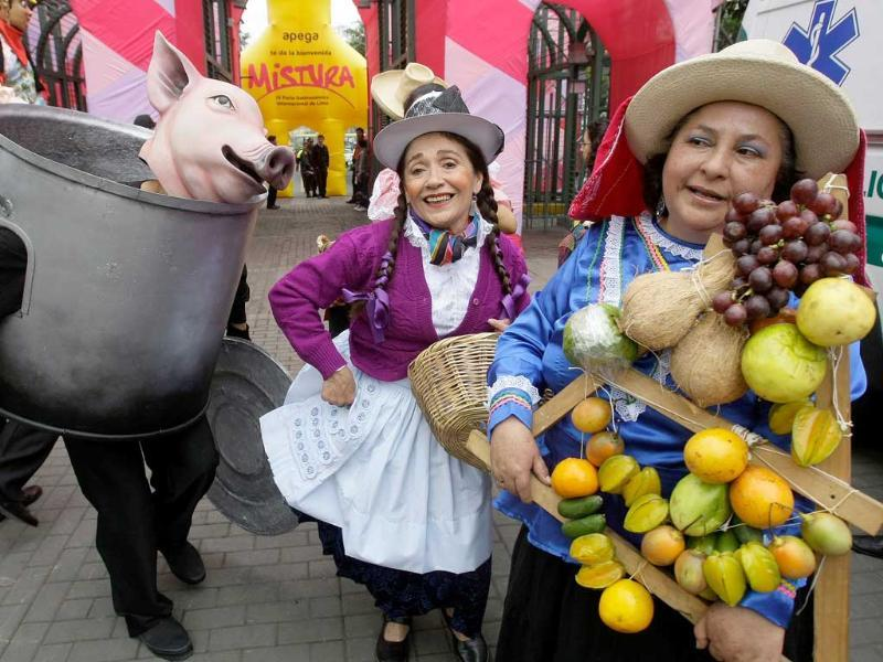 Actors perform during the IV edition of the Peruvian International Gastronomic Fair 'Mistura' in Lima, Peru.