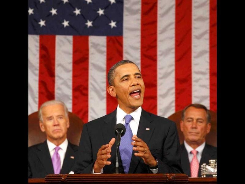 US President Barack Obama addresses a joint session of the United States Congress on the subject of job creation on Capitol Hill in Washington.