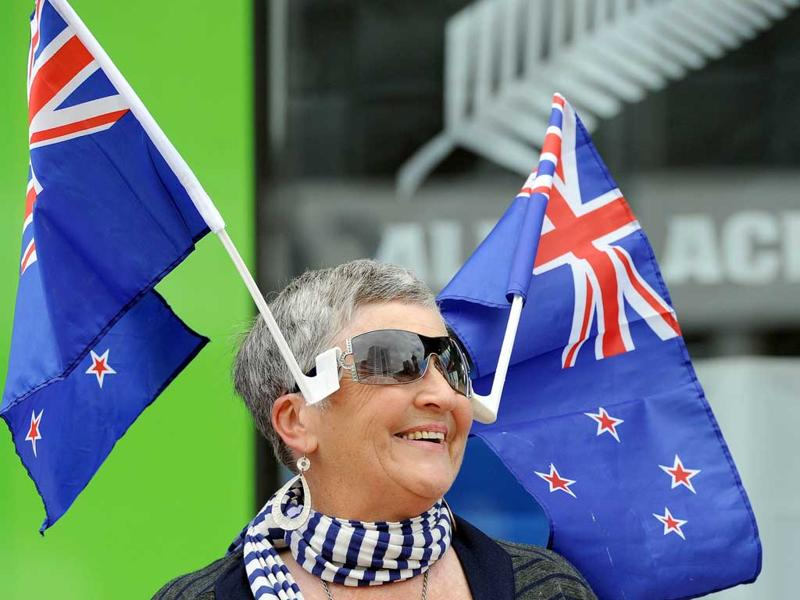 A New Zealand fan wears a hat with the national flags, in preparation for the Rugby Union WC2011, in Auckland.