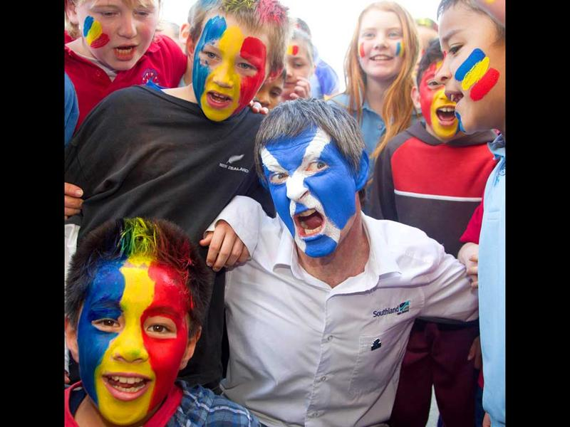 Scotland and Romanian rugby fans react at Rugby League Park, as teams prepare for the 2011 Rugby World Cup, in Wellington.