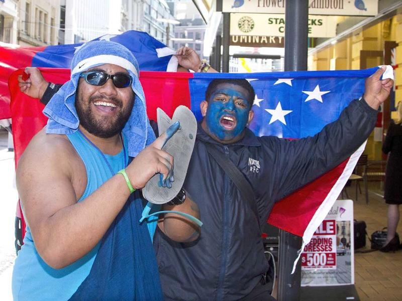 Samoan fans react just one day before the start of the 2011 Rugby World Cup, in Wellington.