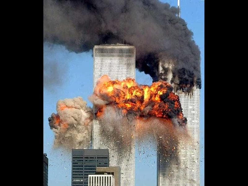 Hijacked United Airlines Flight 175 from Boston crashes into the south tower of the World Trade Center and explodes at 9:03 am on September 11, 2001 in New York City. File Photo