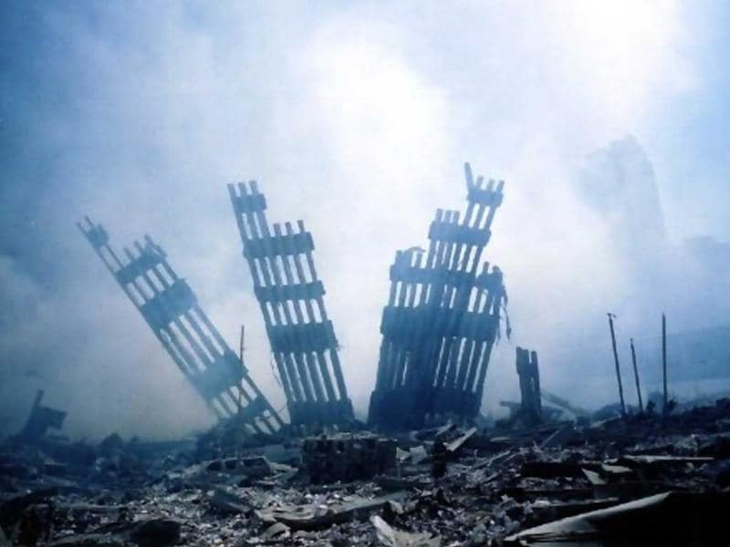 The rubble of the World Trade Center smoulders following a terrorist attack on 11 September 2001 in New York. File photo
