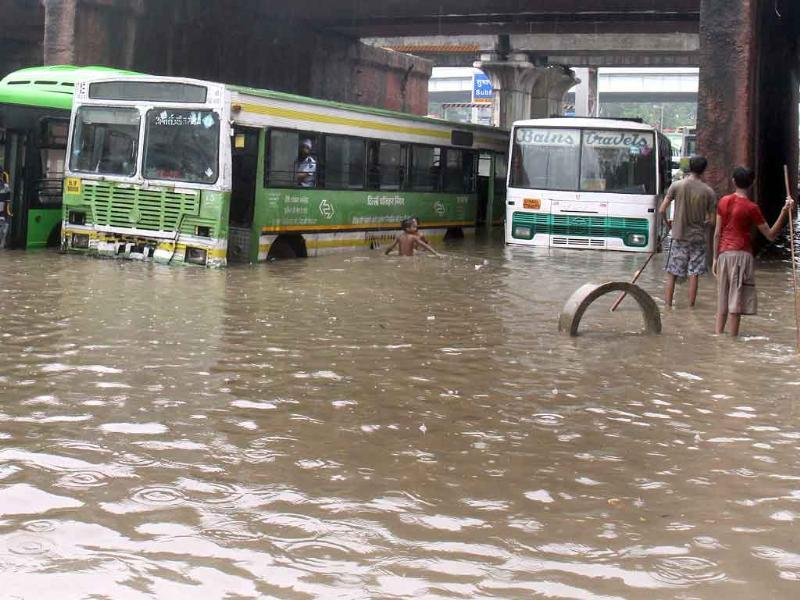 Water logging due to heavy rain disrupted vehicular traffic in the Capital for hours.