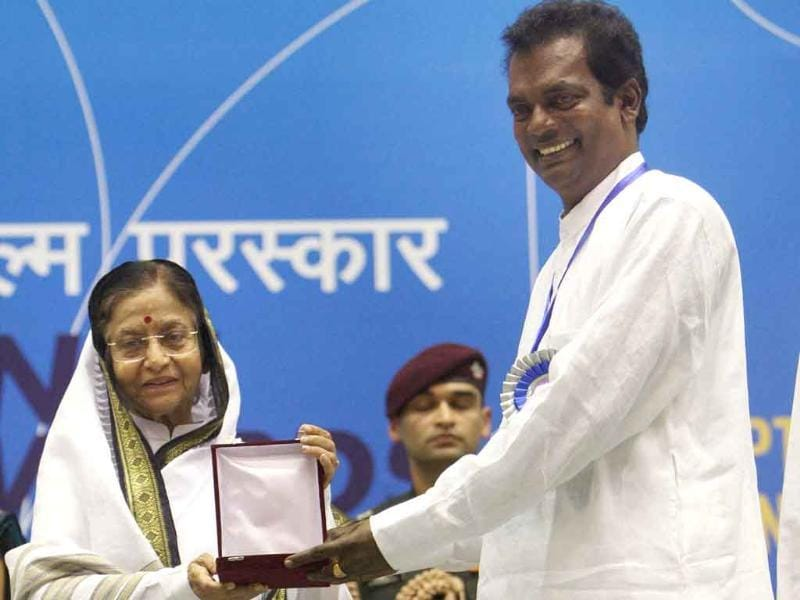 President Pratibha Patil presents Best Actor Award to Salim Kumar during the 58th National Film Awards Function in New Delhi.