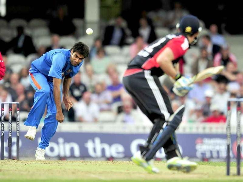 Munaf Patel bowls to England's Craig Kieswetter during the third one day cricket match between England and India at The Oval in London.