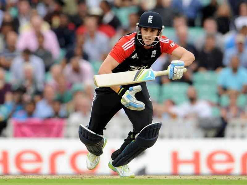 Craig Kieswetter sets off for a run after playing a shot during the third one-day international cricket match against India at the Oval cricket ground in London.