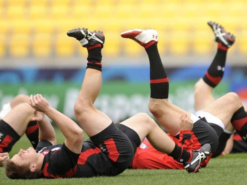 Wales players warm up as they take part in the captains run at the Wellington Regional Stadium in preparation for the 2011 Rugby World Cup.