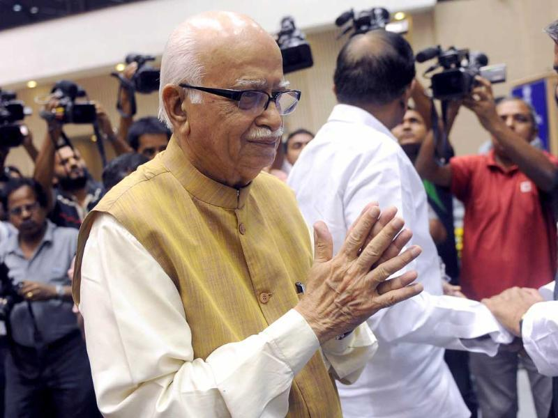 Bharatiya Janata Party senior leader Lal Krishna Advani arrives at the National Integration Council meeting in New Delhi.