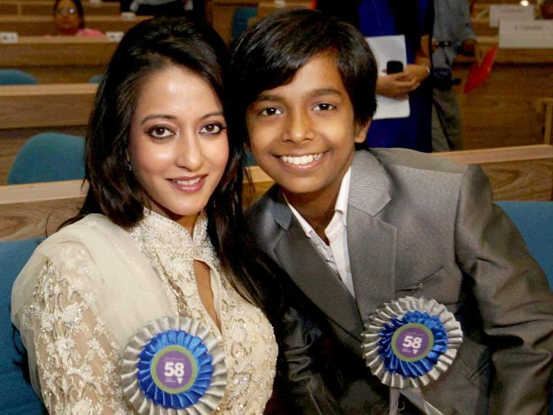 Actor Raima Sen with Best Child Artist Harsh Mayar during the 58th National Film Awards function. (PTI)