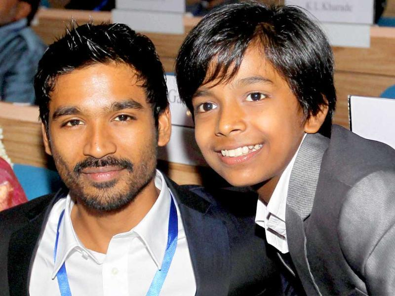 K Dhanush, recipient of Best Actor award, with Best Child Artist Harsh Mayar during the 58th National Film Awards Function' in New Delhi on Friday. (PTI)