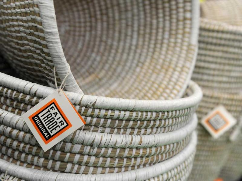 A fair trade emblem can be seen on cotton baskets, made in India, in Dortmund, western Germany, during the
