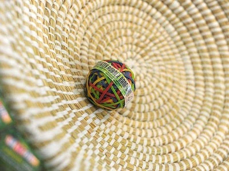 A ball out of rubber bands made in Sri Lanka is on displayin Dortmund, western Germany, during the