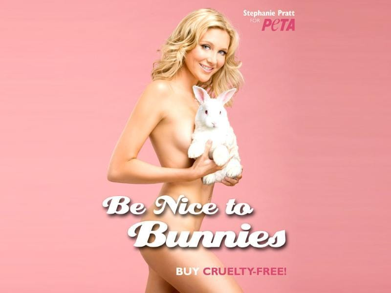 Reality star Stephanie Pratt is good to bunnies and good for one's eyes.