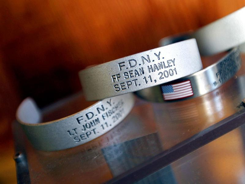 A memorial display of bracelets honoring firefighters who were killed are seen at FDNY Ladder 20 Engine 13 on September 9, 2011 in New York City. Ladder 20 lost seven firefighters.