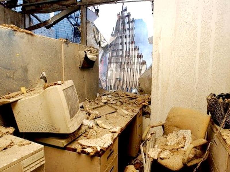 An office filled with dust and damage has a view of the wreckage of the World Trade Center after the Spetember 11, 2001 terror attacks in New York. File photo