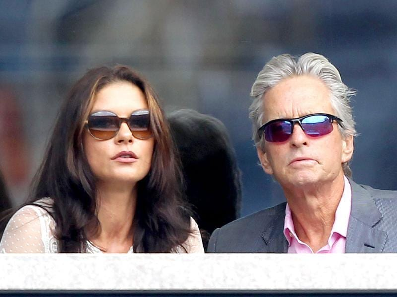 Actors Michael Douglas and Catherine Zeta-Jones attend the 2011 US Open at the USTA Billie Jean King National Tennis Center.