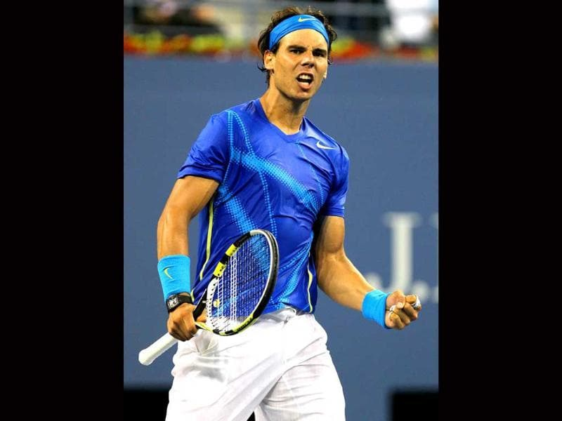 Rafael Nadal of Spain reacts after he won match point against Andy Murray of Great Britain during the semifinal of 2011 US Open at the USTA Billie Jean King National Tennis Center in New York City.