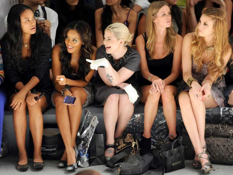 Joy Bryant, Angela Simmons, Kelly Osbourne, Nicky Hilton and Whitney Port (L to R) attend the Charlotte Ronson Spring 2012 fashion show during Fashion Week in New York.