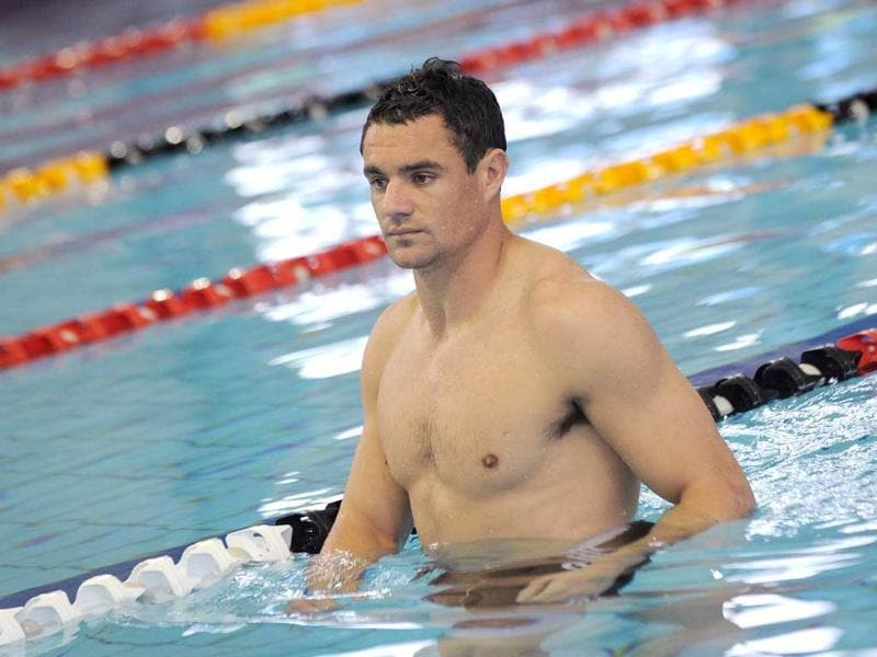 New Zealand All Black fly-half Dan Carter wades in a pool during a team recovery session as they prepare for their next 2011 Rugby World Cup match, in Hamilton.