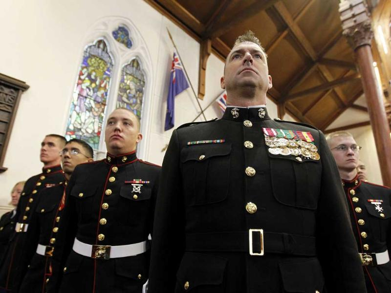 US Marines attend a memorial service to commemorate the victims of the 9/11 terrorist attacks on the 10th anniversary of the attacks at St Andrew's Presbyterian Church in New Plymouth, New Zealand.
